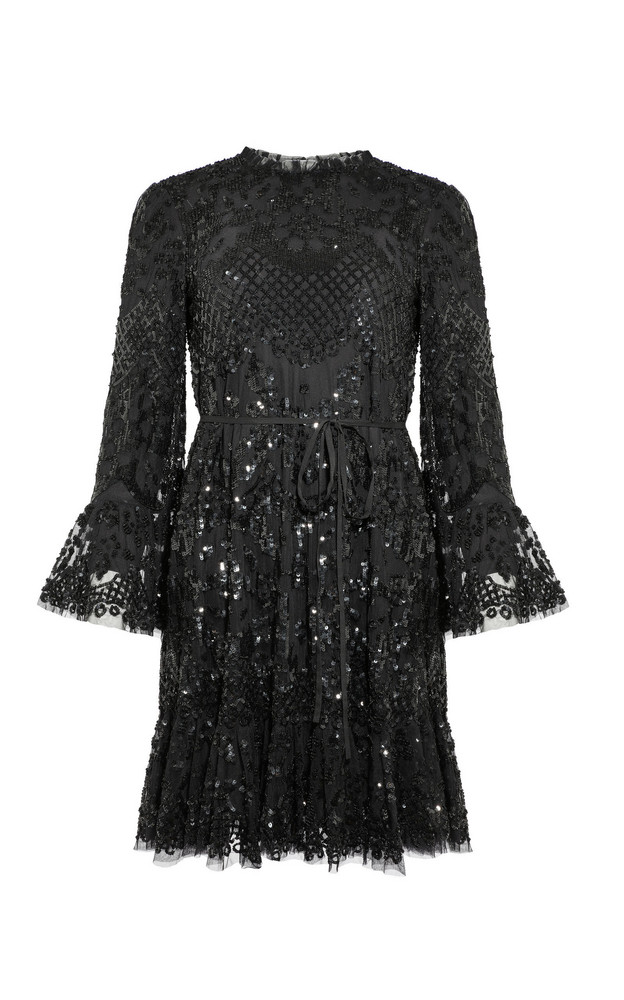 Needle & Thread Lilacs Ruffled Dress in black