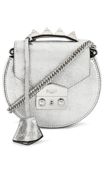 SALAR Carol Lame Bag in Metallic Silver
