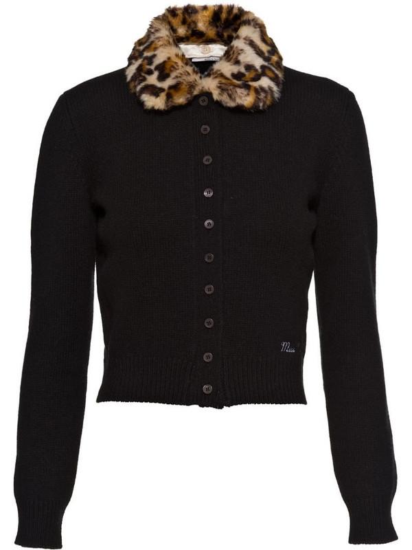 Miu Miu leopard-print collar cashmere cardigan in black