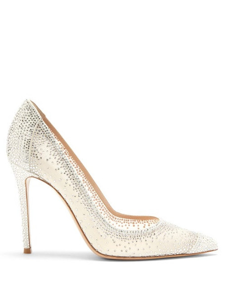 Gianvito Rossi - Rania Cystal-embellished Suede Pumps - Womens - White