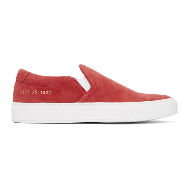 Woman by Common Projects Red Suede Slip-On Sneakers