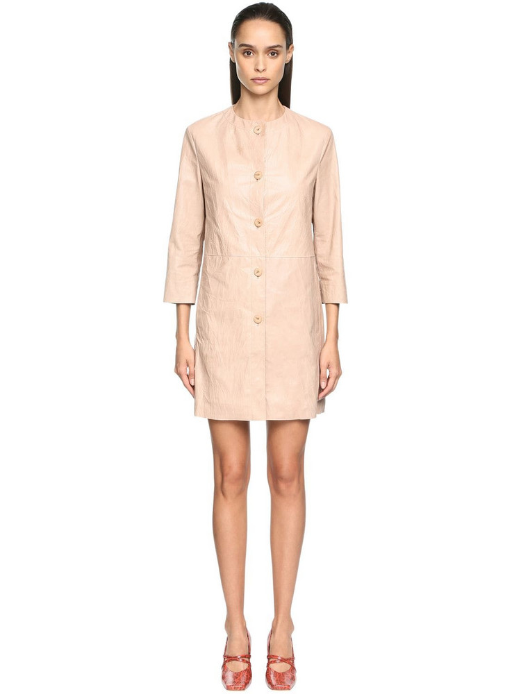 DROME Wrinkled Leather Dust Coat in beige