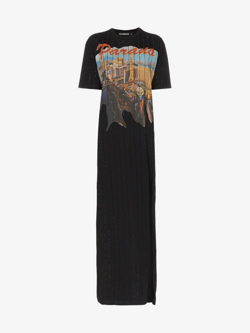 Filles A Papa Riviera crystal-embellished cotton T-shirt dress in black