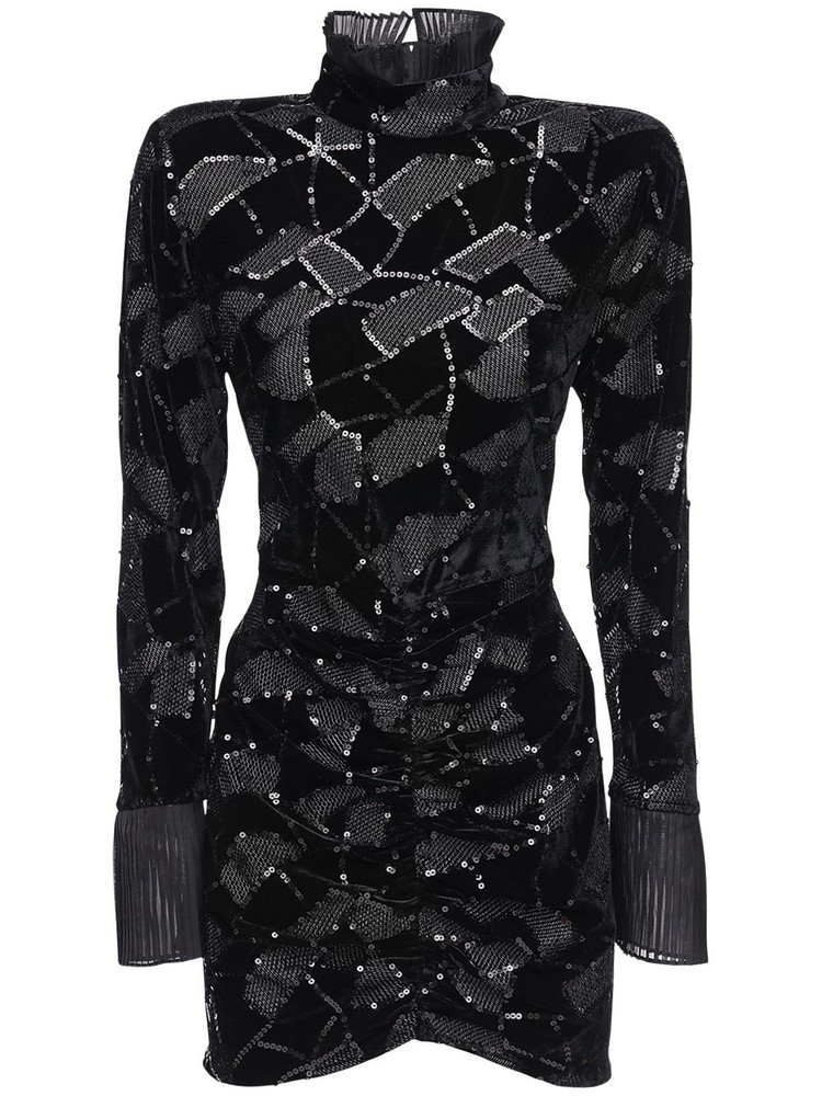 ROTATE Miki Sequined Mini Dress in black