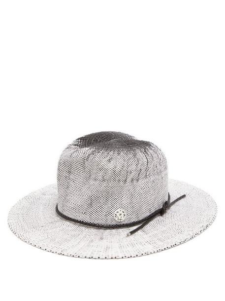 Maison Michel - Yoshiko Leather-trimmed Straw Hat - Womens - White Black