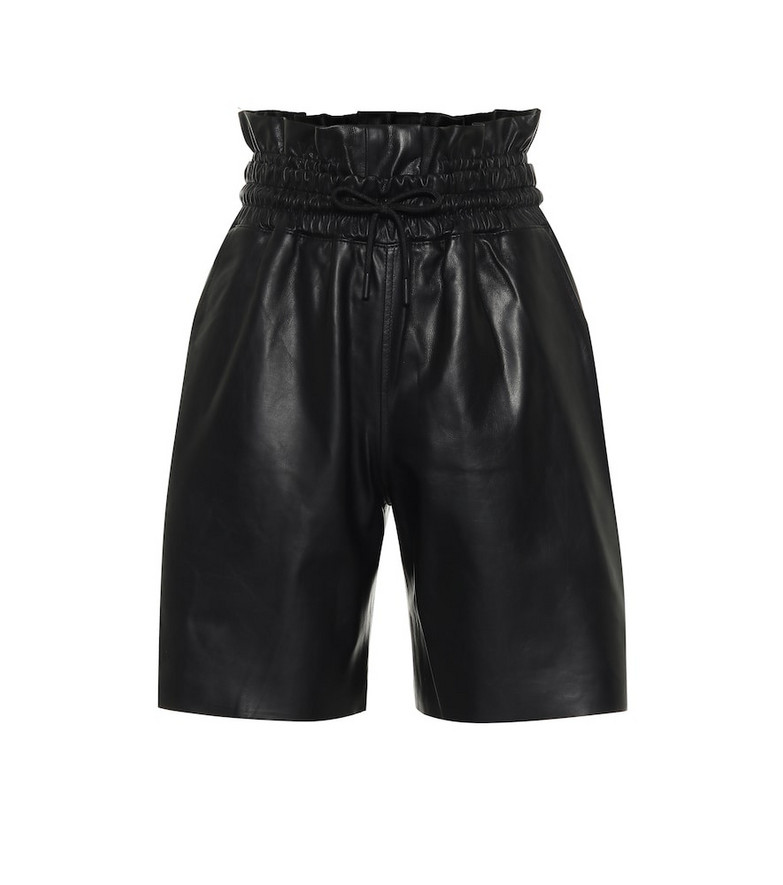 RtA Amata leather paperbag shorts in black