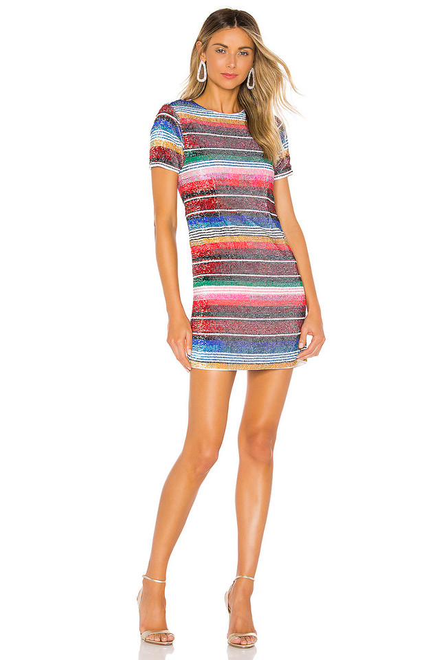 X by NBD Ana Embellished Mini Dress in blue