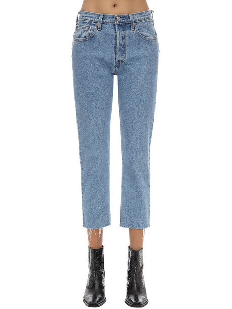LEVI'S RED TAB 501 High Rise Cropped Stretch Jeans in blue