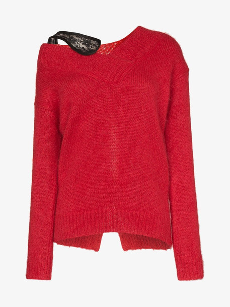 Christopher Kane v neck mohair sweater in red