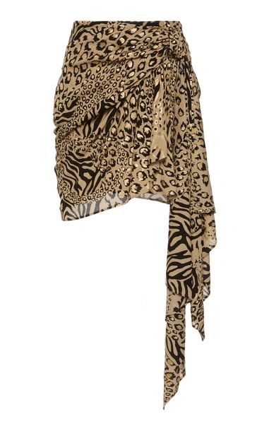 Dundas Gilded Chiffon Leopard-Print Skirt