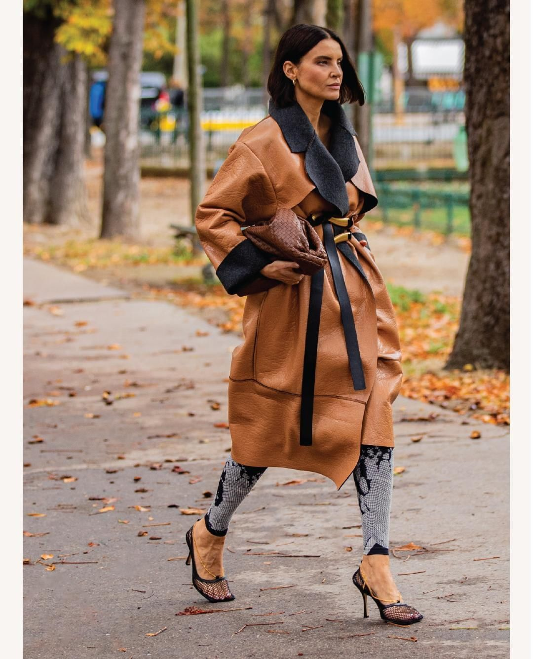 shoes pumps bottega veneta leggings leather long coat brown bag