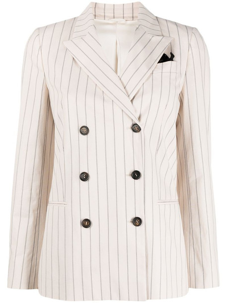 Brunello Cucinelli stripe-print double-breasted blazer in neutrals