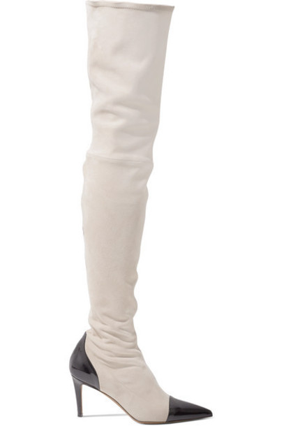Alexandre Vauthier - Helena Two-tone Patent Leather-trimmed Suede Thigh Boots - Beige
