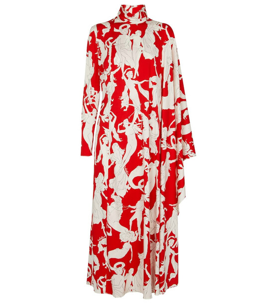 Valentino Printed stretch-silk midi dress in red