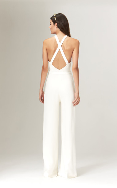 Savannah Miller Nancy Fitted Ivory Crepe Jumpsuit in white