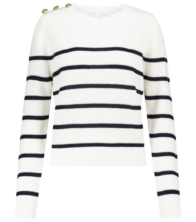 Veronica Beard Matin striped linen and cotton sweater in yellow
