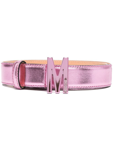 Moschino M logo plaque belt in pink