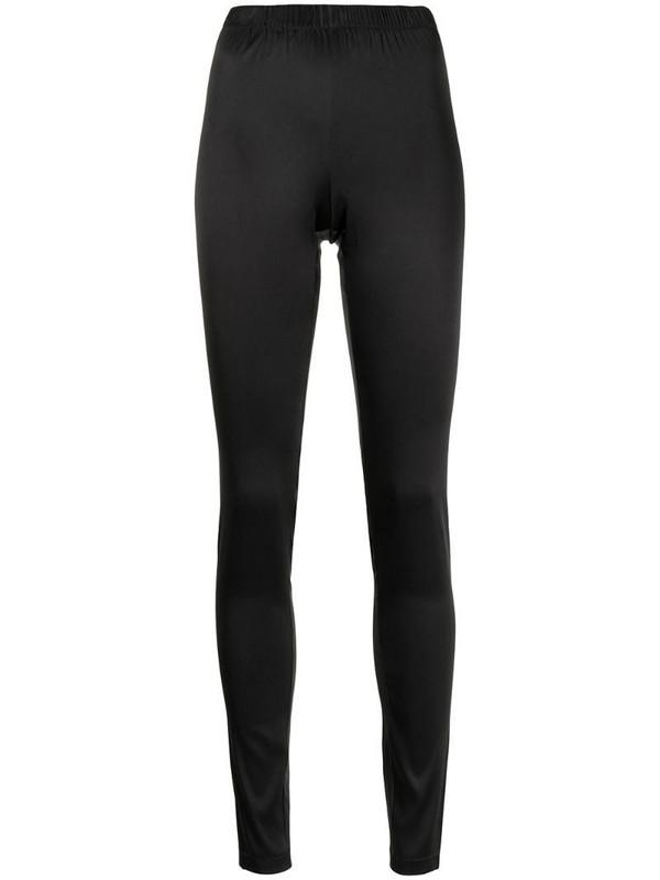 Carine Gilson high-rise satin leggings in black