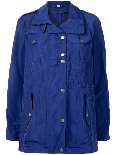 Burberry Pre-Owned single-breasted parka in blue