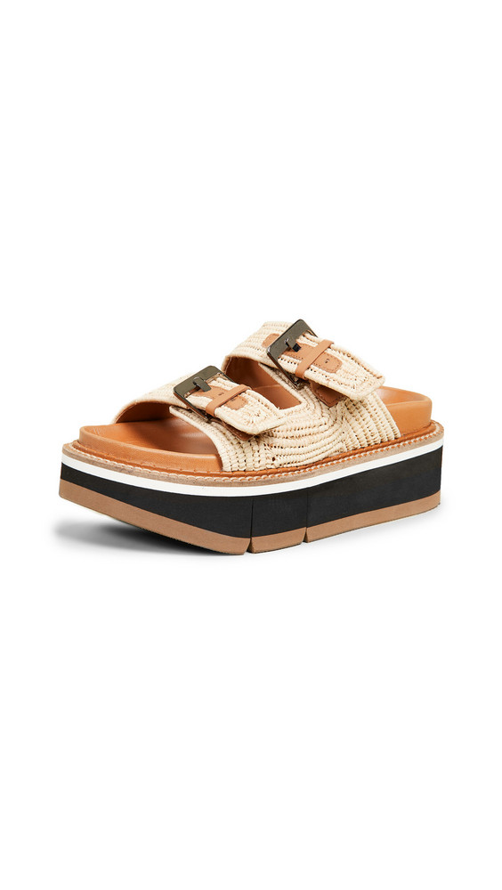 Clergerie Aix Two Band Slide Sandals in natural