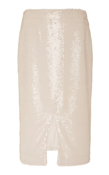 Ganni Sequined Chiffon Skirt Size: 40 in white