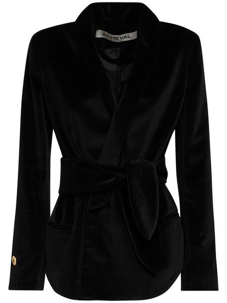 ÀCHEVAL PAMPA Tero Velvet Jacket W/ Belt in black