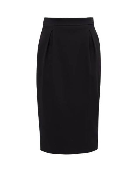 Versace - High-rise Pleated Crepe Pencil Skirt - Womens - Black