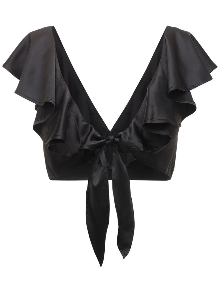 WEWOREWHAT Ruffled Charmeuse Crop Top in black