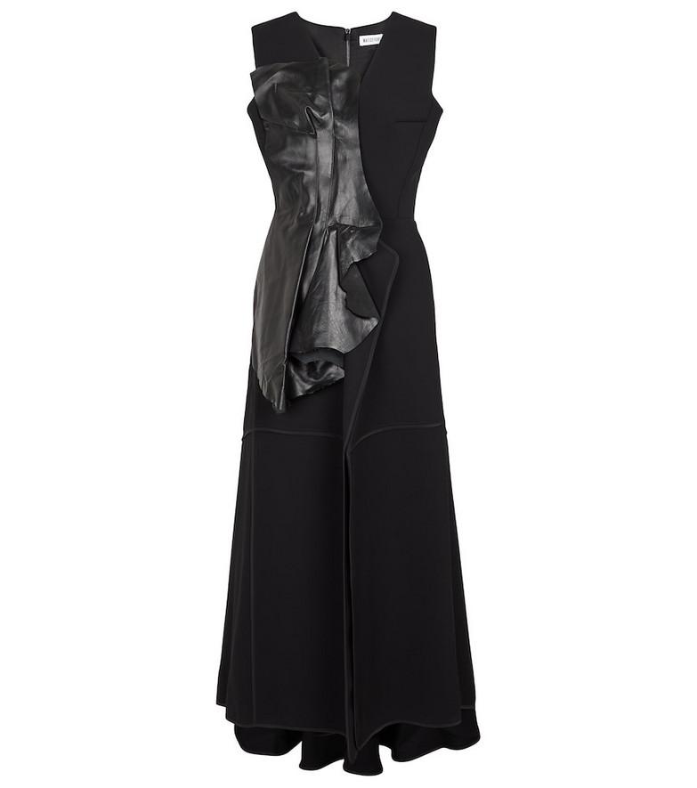Maticevski Bogarde leather-trimmed crêpe midi dress in black