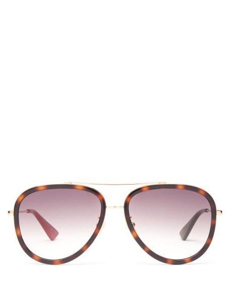 Gucci - Tortoiseshell-effect Acetate Aviator Sunglasses - Womens - Brown Gold