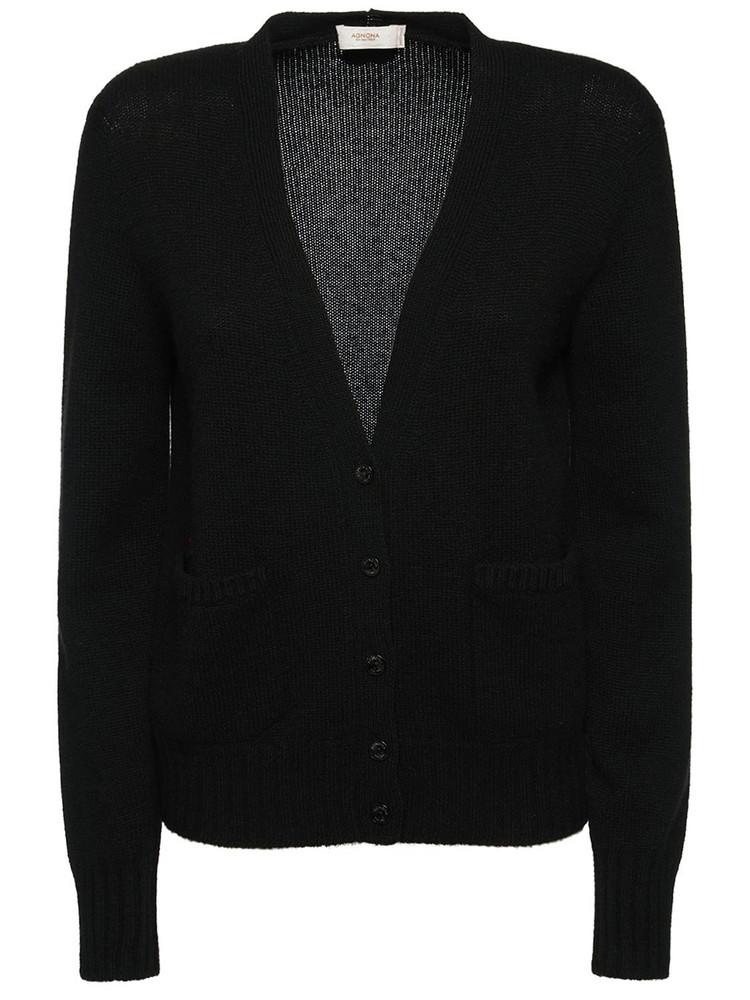 AGNONA Cashmere Knit V Neck Cardigan in black
