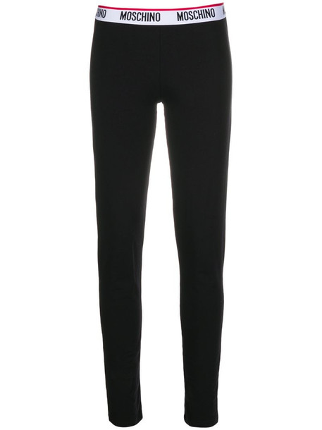 Moschino logo-tape leggings in black