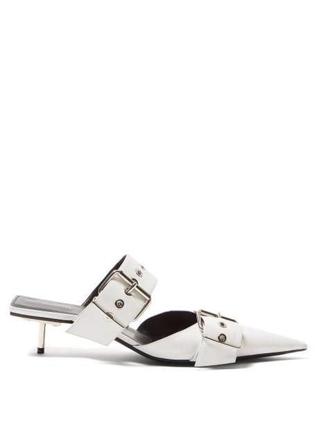 Balenciaga - Belt Buckle 40mm Leather Stiletto Mules - Womens - White