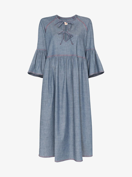 Marni Bow front denim dress