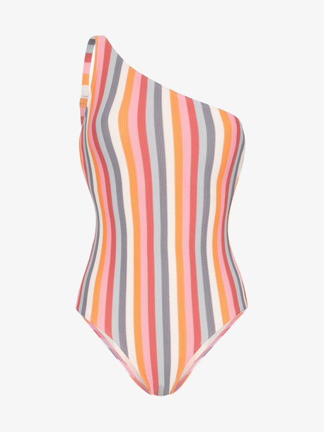 Peony rainbow one shoulder swimsuit in blue
