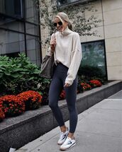 sweater,turtleneck sweater,leggings,sportswear,bag