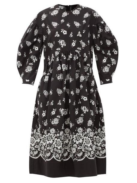 Simone Rocha - Balloon-sleeve Floral Lace-print Poplin Dress - Womens - Black White