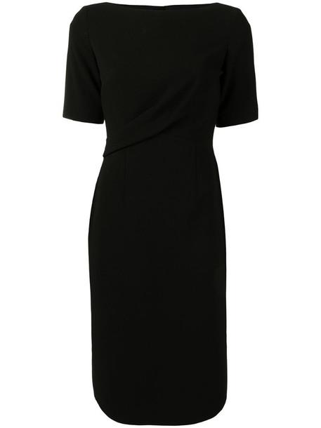Paule Ka draped detail shift dress in black