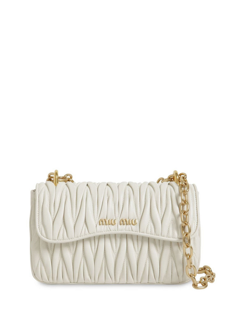 MIU MIU Matelassé Leather Shoulder Bag in white