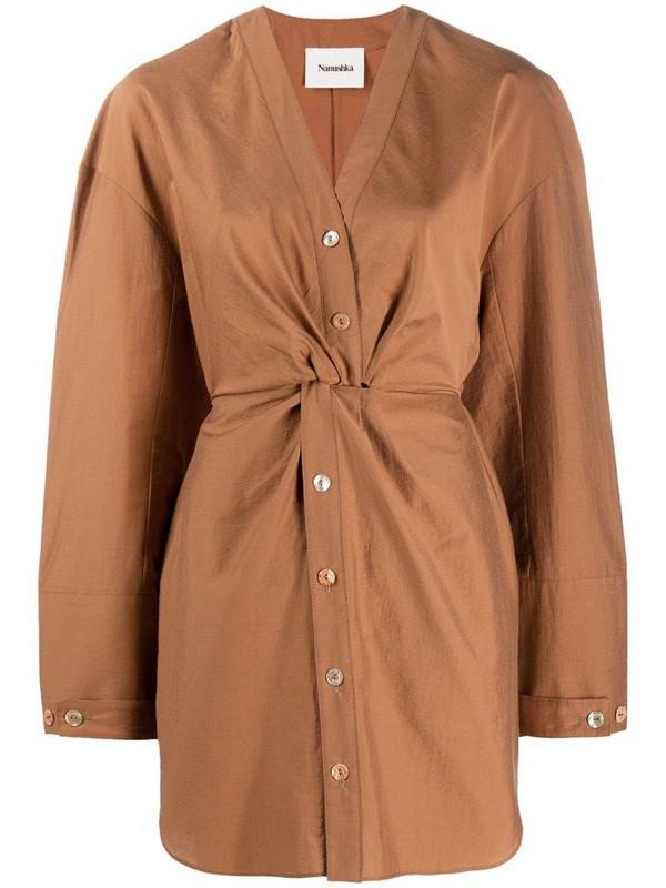 Nanushka Johanna shirt dress in brown