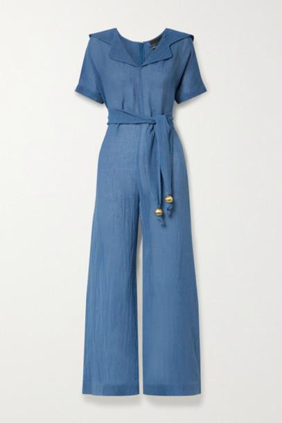 Lisa Marie Fernandez - Net Sustain Mariana Belted Organic Linen-blend Gauze Jumpsuit - Blue
