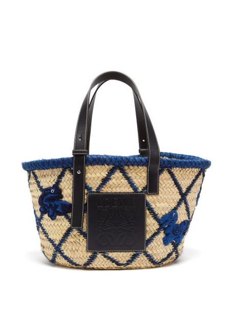 Loewe - Medium Animal-embroidered Raffia Basket Bag - Womens - Blue Multi