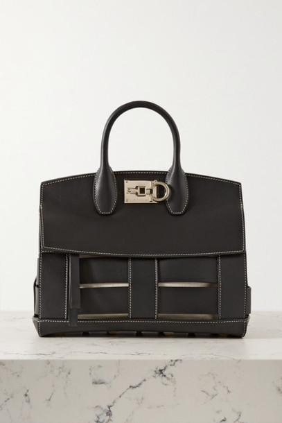 Salvatore Ferragamo - The Studio Cage Leather Tote - Black