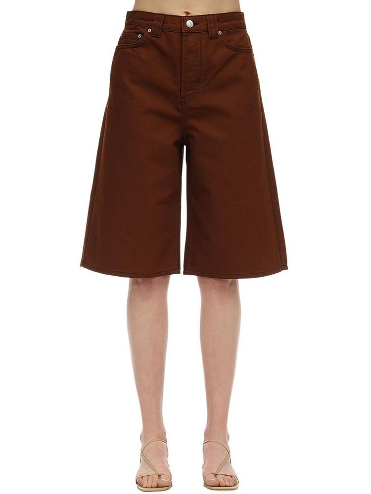 GANNI Cotton Denim Bermuda Shorts in brown