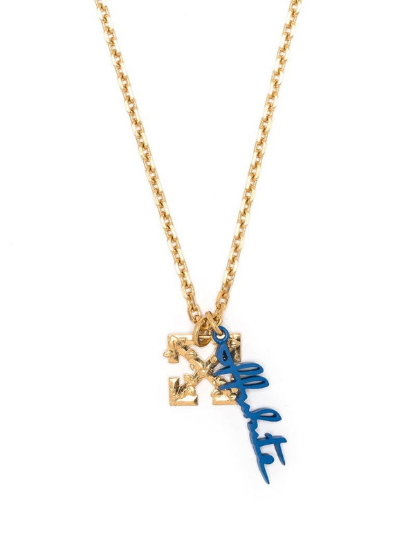 Off-White LEAVES ARROW NECKLACE GOLD BLUE