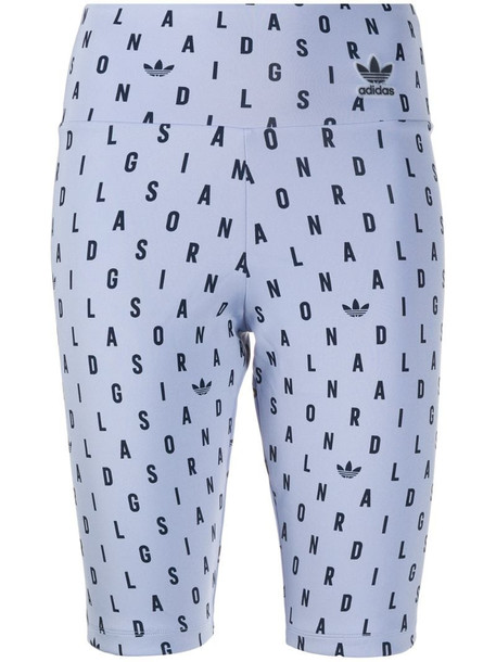 adidas Originals logo letter print shorts in blue