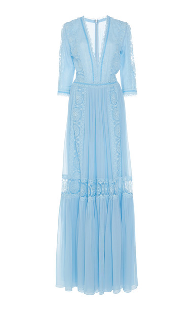 Costarellos Lace-Trimmed Embroidered Silk-Chiffon Maxi Dress in blue