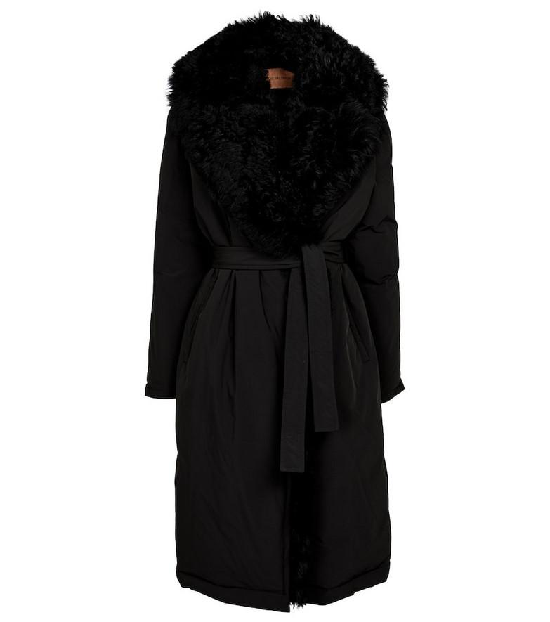 Yves Salomon Shearling-trimmed puffer coat in black
