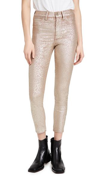 7 For All Mankind Ankle Skinny Velvet Jeans in gold / metallic