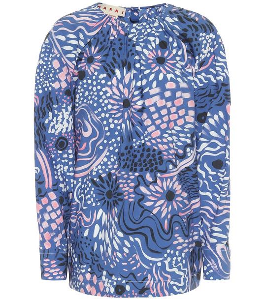 Marni Printed cotton poplin top in blue
